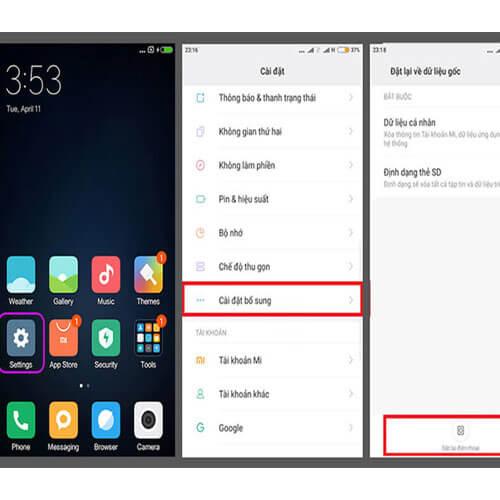 Sao lưu cài đặt gốc Xiaomi Redmi 8A